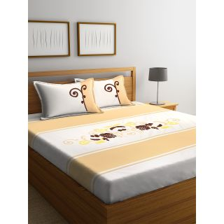 Eyda 100% Cotton Embroidered Super King Size Bed Sheet with 2 Pillow Cover(EydaDBS10)