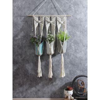 Hand Knotted Cotton Hanging for 3 Planters