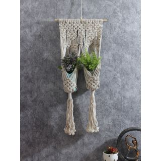 Hand Knotted Cotton Hanging for 2 Planters