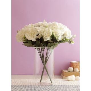 Pristine bunch of Real alike Carnation Flowers -White-Set of 3(FL2088WH)