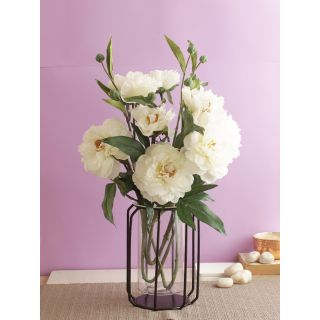 Blooming set of Peony Flowers-White-Set of 2(FL209409WH)
