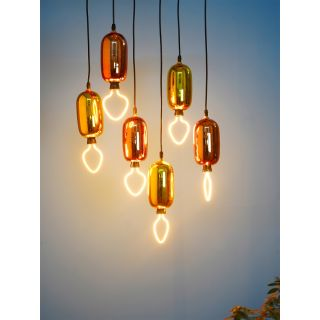 Fos Lighting Cluster of 6 Golden and Rose Gold Capsule Pendant Light