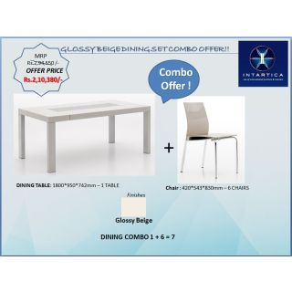 Glossy Beige Square Dining Table + Glossy Beige Hollow Triangle Dining Chair