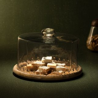 Leaf Glass Cloche With Wooden Base (GSETA2385)