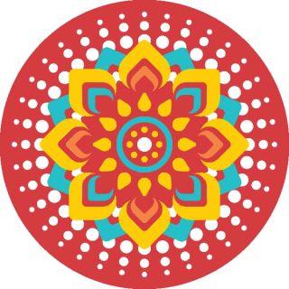 Diwali Highlights on Canvas Circle Mandala (4 X 4 inch, Set of 2)