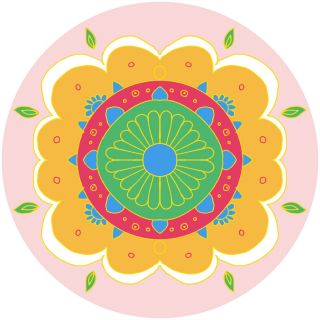 Diwali Highlights on Canvas Circle Floral (4 X 4 inch, Set of 2)