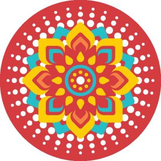 Diwali Highlights on Canvas Circle Mandala (4 X 4 inch, Set of 4)
