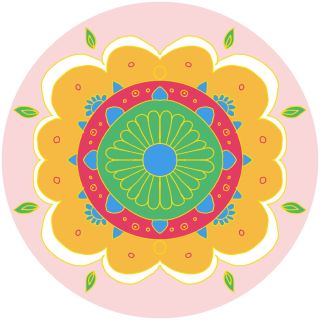 Diwali Highlights on Canvas Circle Floral (4 X 4 inch, Set of 4)