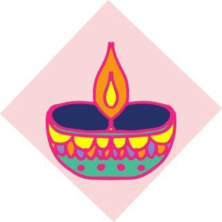 Diwali Highlights on Canvas Square Diya (4 X 4 inch, Set of 2)