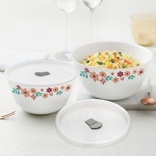 Larah By Borosil Ayana Mixing & Serving Bowl Set of 2 with Lid (750 ml, 1500 ml), Microwave Safe