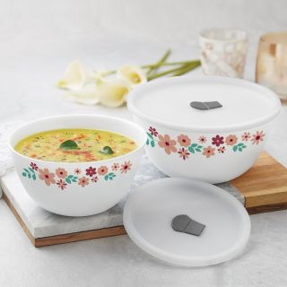 Larah By Borosil Ayana Mixing & Serving Bowl Set of 2 with Lid (1000 ml, 1500 ml), Microwave Safe