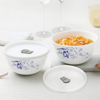 Larah By Borosil Blue Eve Mixing & Serving Bowl Set of 2 with Lid (500 ml each), Microwave Safe
