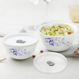 Larah By Borosil Blue Eve Mixing & Serving Bowl Set of 2 with Lid (750 ml each), Microwave Safe