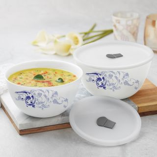 Larah By Borosil Blue Eve Mixing & Serving Bowl Set of 2 with Lid (1000 ml each), Microwave Safe