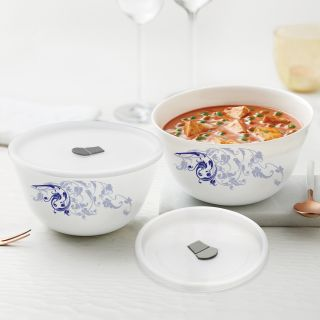 Larah By Borosil Blue Eve Mixing & Serving Bowl Set of 2 with Lid (500 ml, 750 ml), Microwave Safe