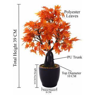 Artificial Orange Color Maple Bonsai Tree (100)