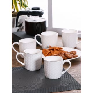 Clay Craft Solid White Fine Ceramic Impression Series Coffee/Tea Mugs Set of 6(CM-CANE-IMPRESSION-1101)