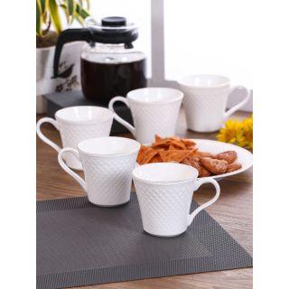 Clay Craft Solid White Fine Ceramic Impression Series Coffee/Tea Mugs Set of 6(CM-CASPER-IMPRESSION-1101)