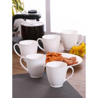 Clay Craft White Solid Omega Series Fine Ceramic  Coffee/Tea Mugs Set of 6(CM-OMEGA-IMP-1101)