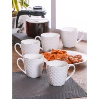 Clay Craft White Fine Ceramic Solid Ripple Series Coffee/Tea Mugs Set of 6(CM-RIPPLE-IMP-1101)