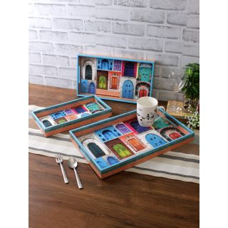 Set of 3 Multicoloured Digital Printed Rectangle Serving Tray