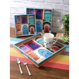 Set of 3 Multicoloured Digital Printed Square Serving Tray
