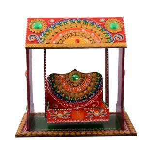 eCraftIndia Decorative Papier-Mache work Wooden Jhula Temple (KSWING500)