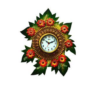 eCraftIndia Papier-Mache Floral Handcrafted Wall Clock (KWC503)
