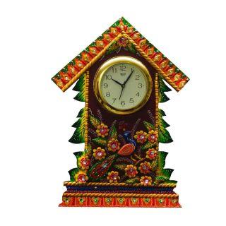eCraftIndia Papier-Mache Wall Clock Floral Hut Design  (KWC506)