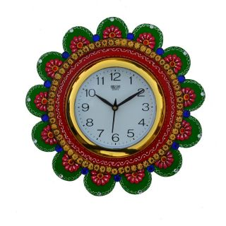eCraftIndia Papier-Mache Sublime Round Handcrafted Wall Clock (KWC509)