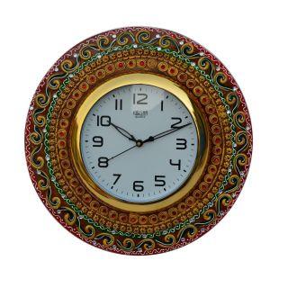 eCraftIndia Papier-Mache Kundan Studded Handcrafted Wall Clock (KWC510)