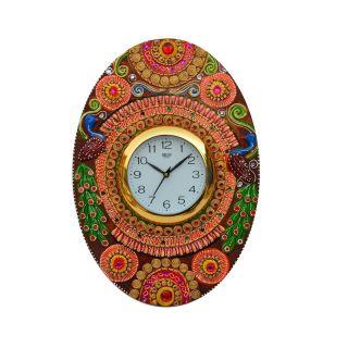 eCraftIndia Papier-Mache Oval Kundan Studded Handcrafted Wall Clock (KWC512)