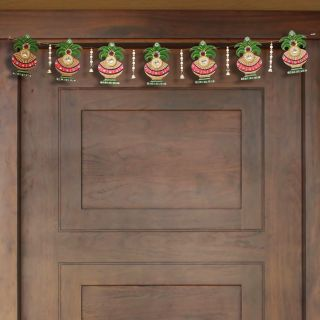 eCraftIndia Papier Mache and Wooden Decorative Kalash Bandarwal/Toran Door Hanging (KWH508)