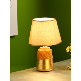 Wooden Finish Gold Painted Ceramic Table Lamp(LAM18100)