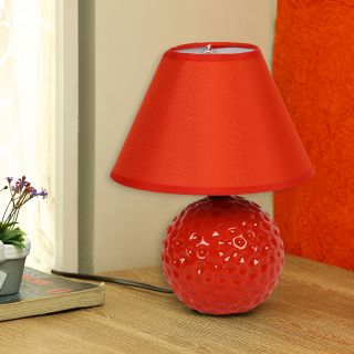 Round Textured Turquoise Red Ceramic Table Lamp(LAM18107RED)