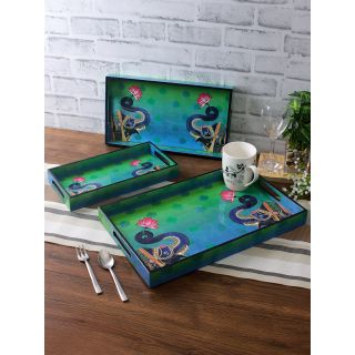 Set of 3 Green Color Digital Printed Rectangle Serving Tray