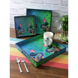 Set of 3 Green Color Digital Printed Square Serving Tray