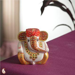 Gold Work Ganesh With Turban Decorative Showpiece