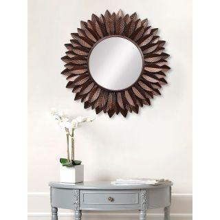 eCraftIndia Brown Decorative Metal Handcarved Wall Mirror (MIIWCACF_2401_M)