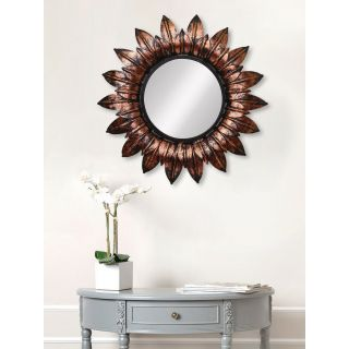 eCraftIndia Brown, Copper and Black Decorative Metal Handcarved Wall Mirror (MIIWCACF_2402_R)