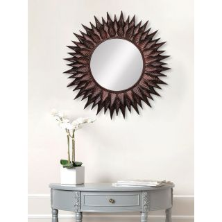 eCraftIndia Brown, Copper and Black Decorative Metal Handcarved Wall Mirror (MIIWCACF_2403_M)