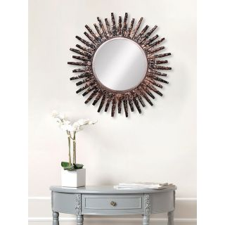 eCraftIndia Brown, Copper and Black Decorative Metal Handcarved Wall Mirror (MIIWCACF_2404_M)