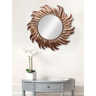 eCraftIndia Golden and Brown Decorative Metal Handcarved Wall Mirror (MIIWCACF_2405_M)