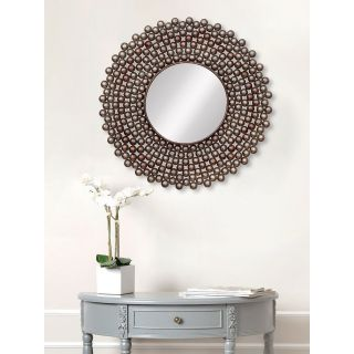 eCraftIndia Golden and Brown Decorative Metal Handcarved Wall Mirror (MIIWCACF_2406_M)