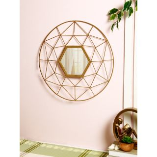 Intricate Design Handcrafted Golden Metallic Frame with Mirror