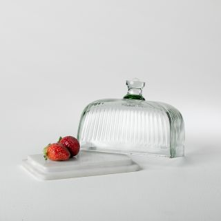 Crown Glass & Marble Butter Dish
