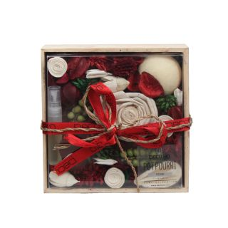 Potpourri in Wooden Box Rose Fragrance