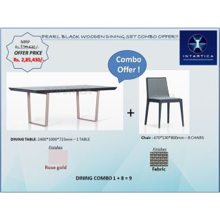 Pearl Black Wooden Dining Table + Blue Oak Grey Dining Chair