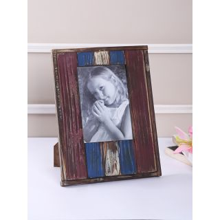 Red and Blue Rustic Finish Wooden Photo frame with matte finish(PF1403)