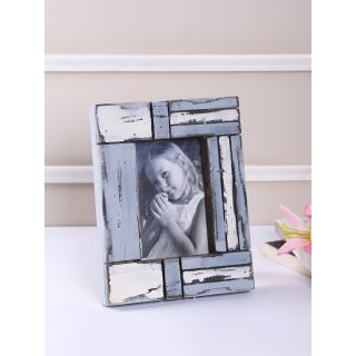 White and Blue Matte contour Wooden Photo Frame(PF1404)